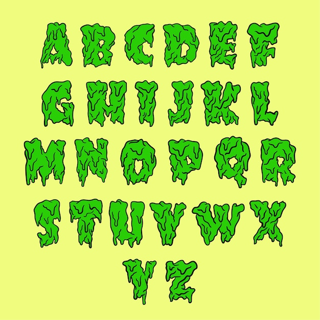 Melting font alphabet Vector   Premium Download