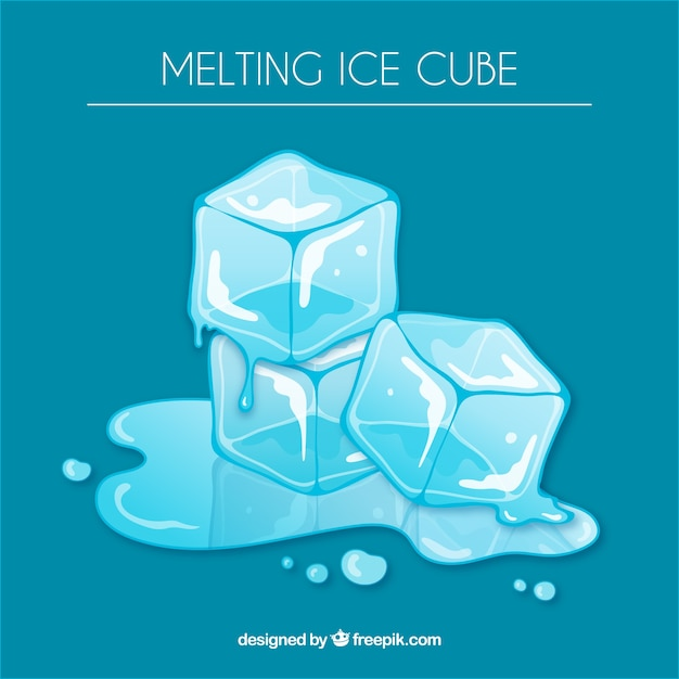 Melting ice cube background Free Vector