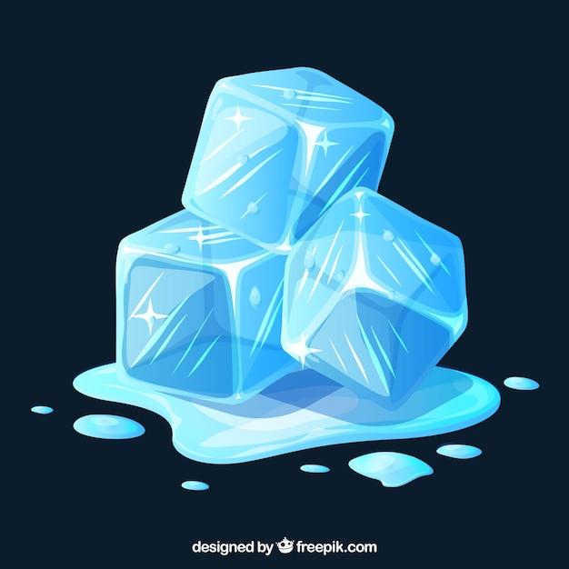 Плавление кубиков льда с плоской конструкцией Бесплатные векторы