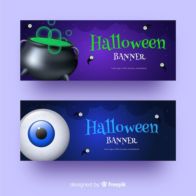 Melting pot and eye realistic halloween banners Free Vector