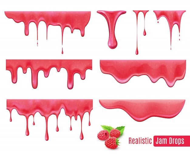 Melting raspberry jam drops realistic set Free Vector