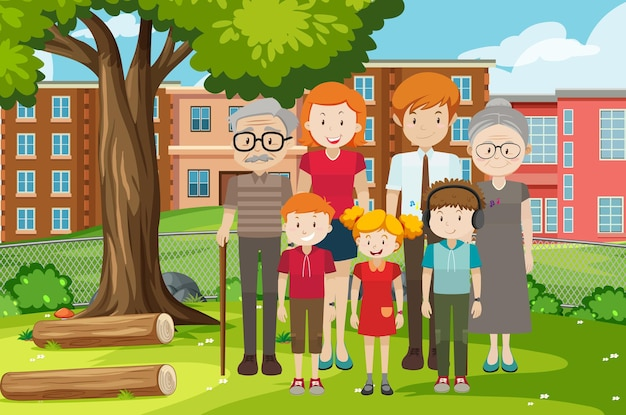 Member of family at the park outdoor scene Free Vector
