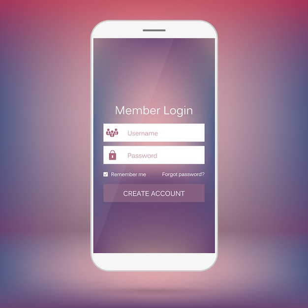 Member login form mobile web interface. Premium Vector
