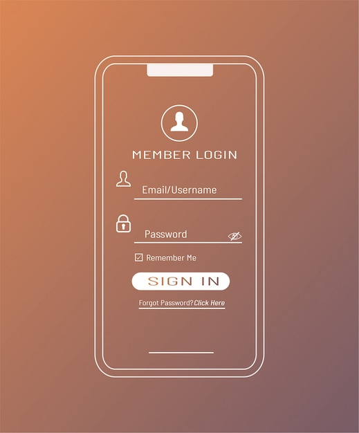 Member login template in smartphone Premium Vector
