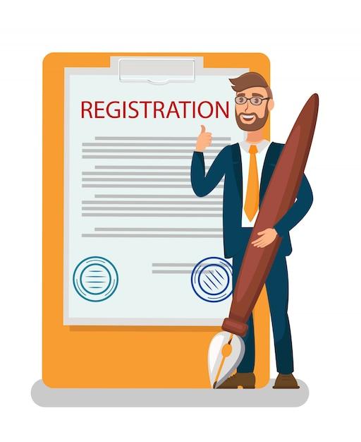 Membership contract, certificate flat illustration Premium Vector