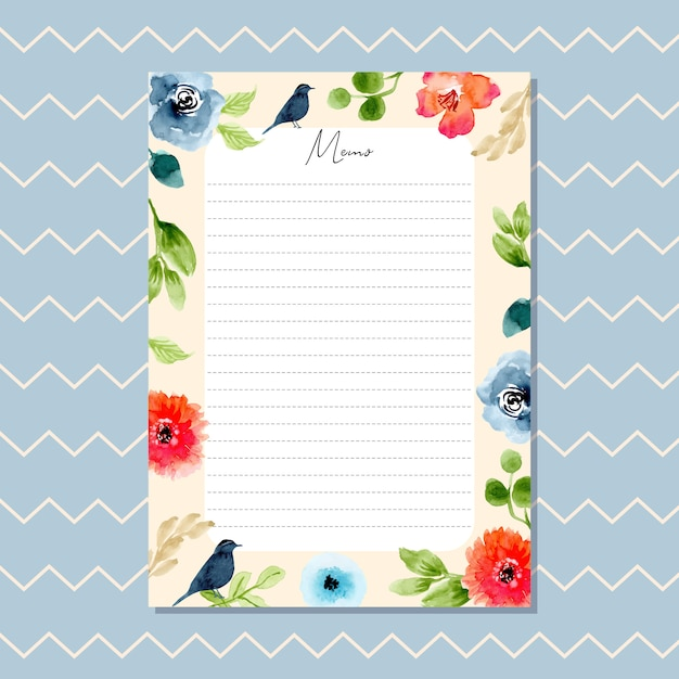Memo card with beautiful watercolor floral border and chevron pattern Premium Vector