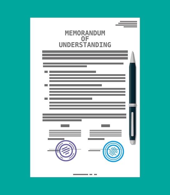 Меморандум о взаимопонимании. юридические документы мо. бланк договора подряда с печатью. шариковая ручка. Premium векторы