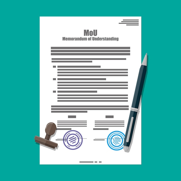 Меморандум о взаимопонимании документа. Premium векторы