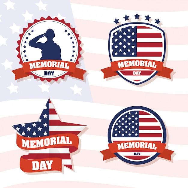 Memorial day celebration with usa flag set frames Premium Vector