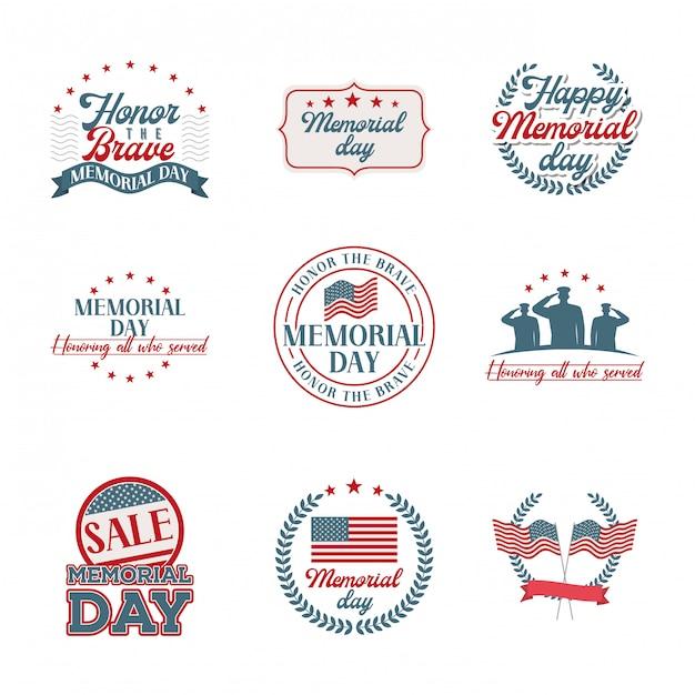 Memorial day emblems set Premium Vector