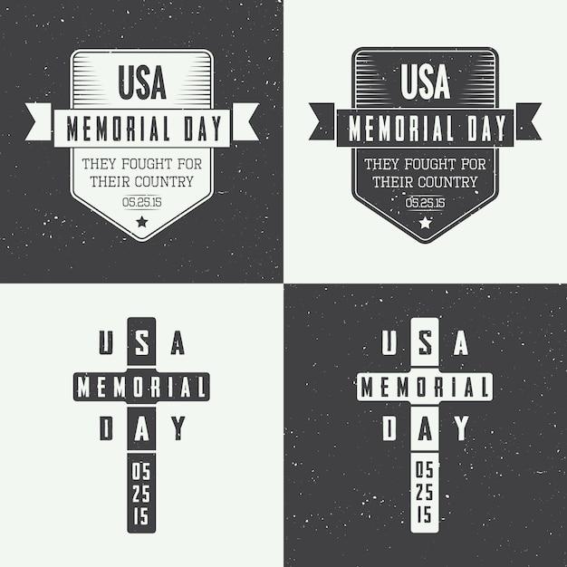 Memorial day logo set Premium Vector