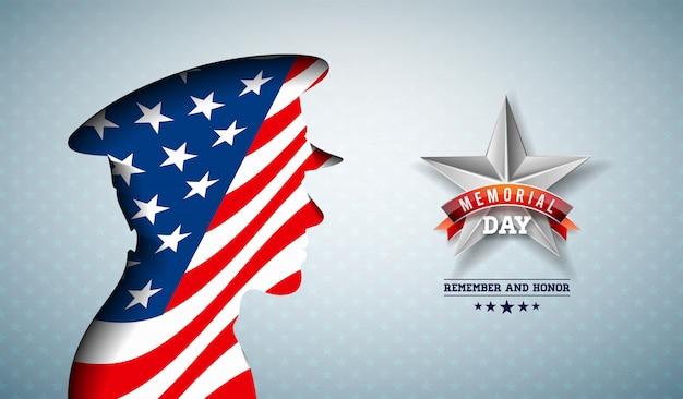 День памяти сша иллюстрации. американский национальный дизайн празднования с флагом в патриотическом силуэте солдата на легком фоне звездного образца для баннера, поздравительной открытки или праздничного плаката Бесплатные векторы