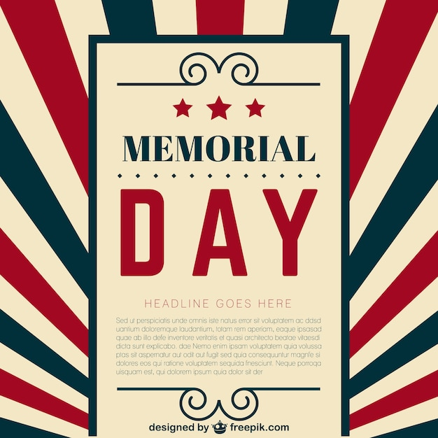 Memorial Day Template Vector  Free Download
