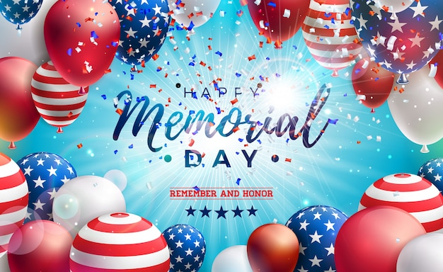 Memorial day of the usa   design template with american flag air balloon and falling confetti on shiny blue background. national patriotic celebration illustration for banner or greeting card Free Vector