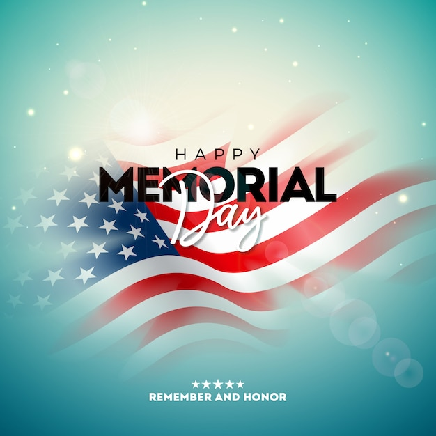 Memorial day of the usa   design template with blured american flag on light background. national patriotic celebration illustration for banner, greeting card, invitation or holiday poster. Free Vector