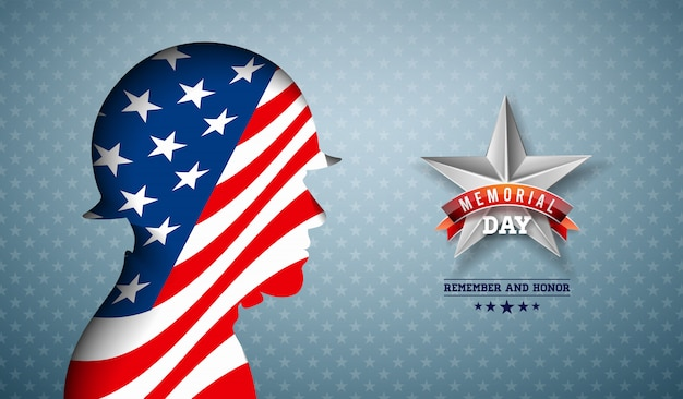 Memorial day of the usa   illustration. american national celebration design with flag in patriotic soldier silhouette on light star pattern background for banner, greeting card or holiday poster Free Vector