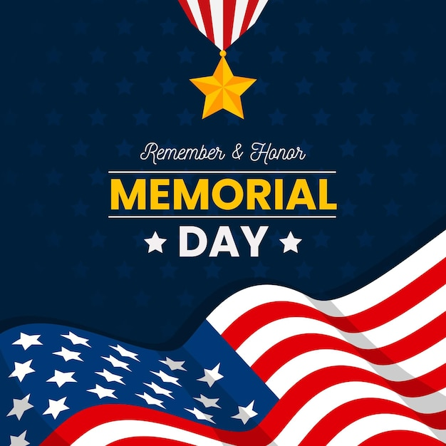 Memorial day with star and flag Free Vector
