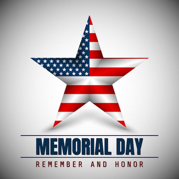 День памяти со звездой в цветах национального флага. Premium векторы