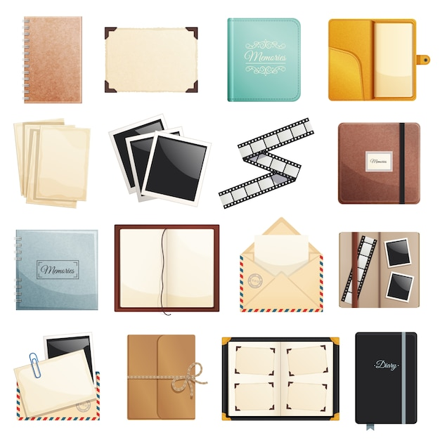 Memories collection of photo album scrapbook notepad diaries postal envelope film slide folders isolated decorative elements illustration Free Vector