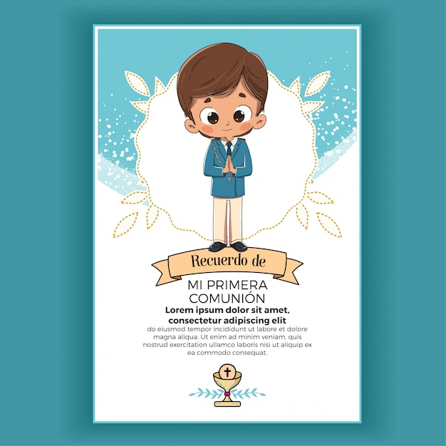 Memory of first communion child Premium Vector
