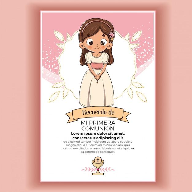Memory of first communion girl Premium Vector