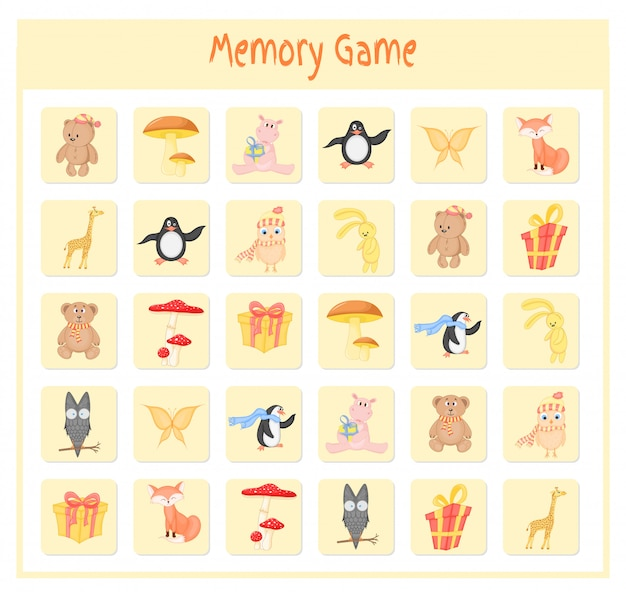 Memory game for kids, animal maps vector graphics Premium Vector