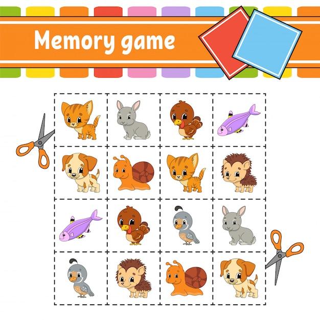 Memory game for kids. Premium Vector