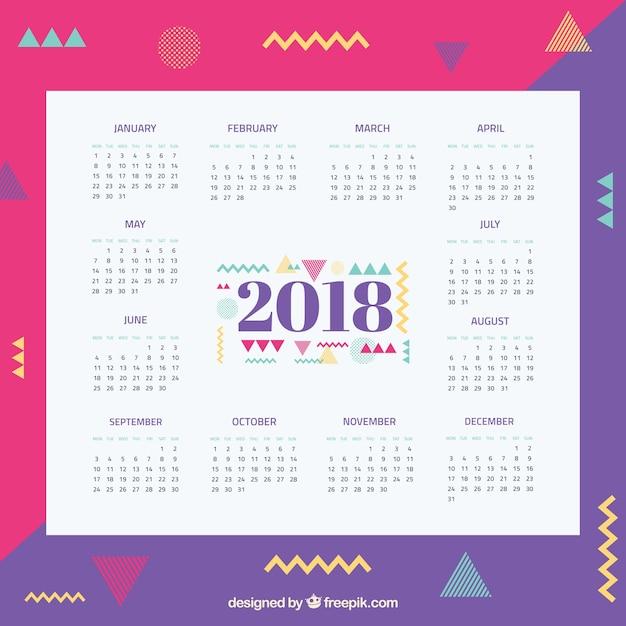 Memphis 2018 calendar template