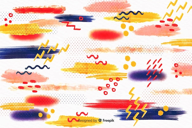 Memphis abstract brush strokes background Free Vector