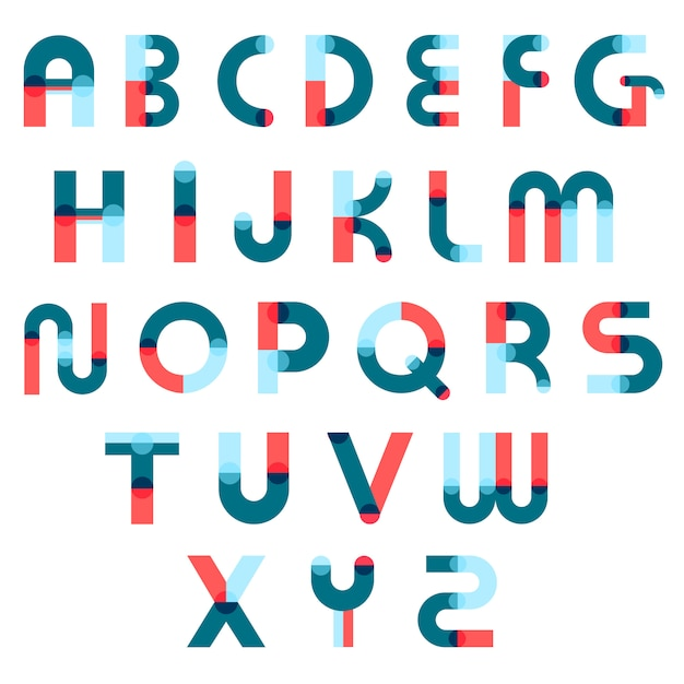 Memphis alphabet constructor set Premium Vector