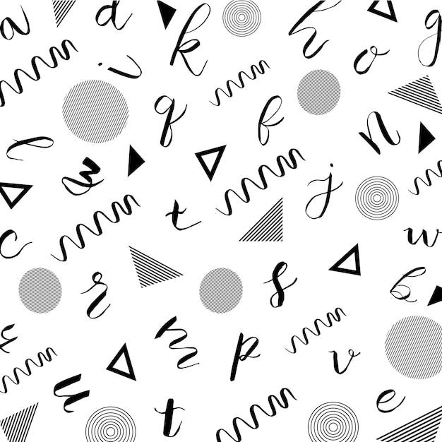 Memphis alphabet pattern background Premium Vector
