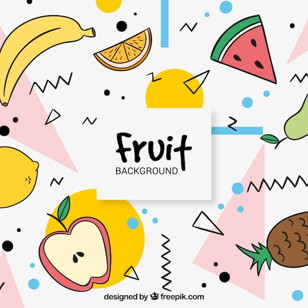 Memphis background of various hand drawn fruits Free Vector