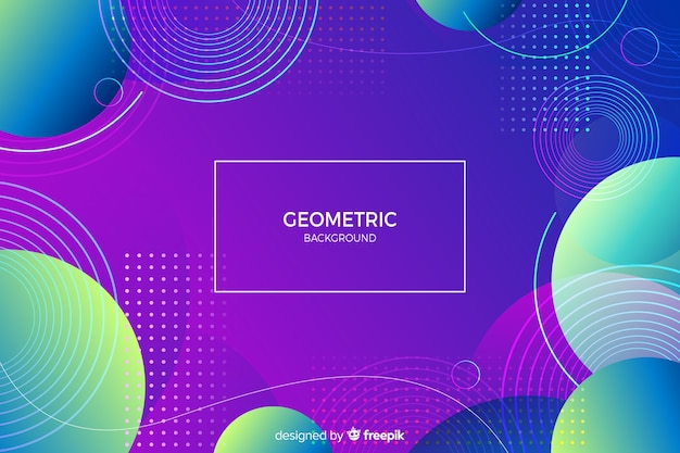 Memphis background with gradient geometric shapes Free Vector