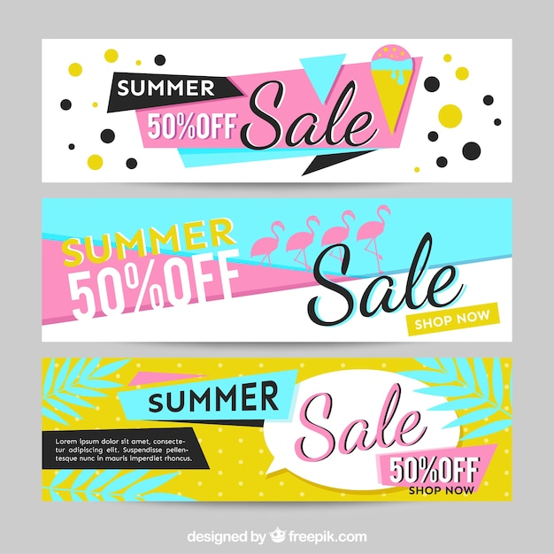 Memphis banner for summer sales Free Vector