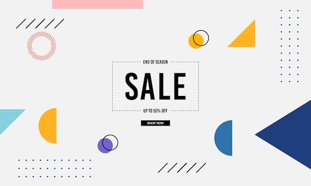 Memphis banner sale background Premium Vector