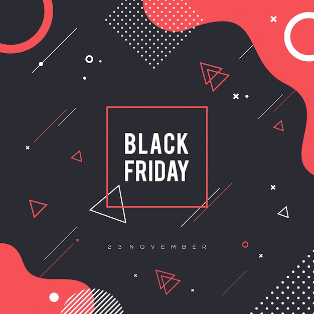 Memphis black friday background Premium Vector