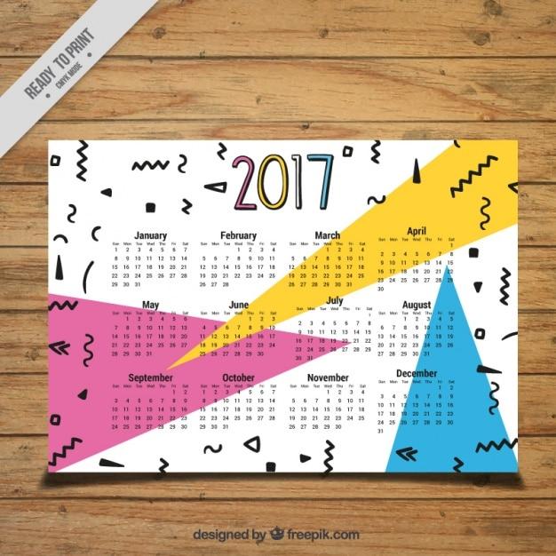 Memphis calendar 2017 in memphis style Free Vector