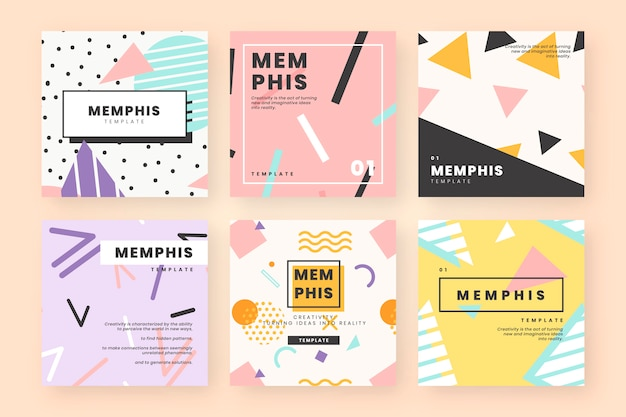 Memphis card template collection Free Vector
