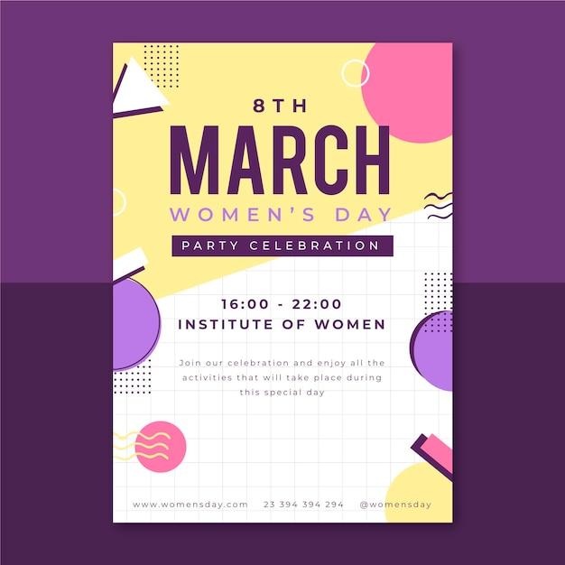 Мемфис детский женский день плакат Бесплатные векторы