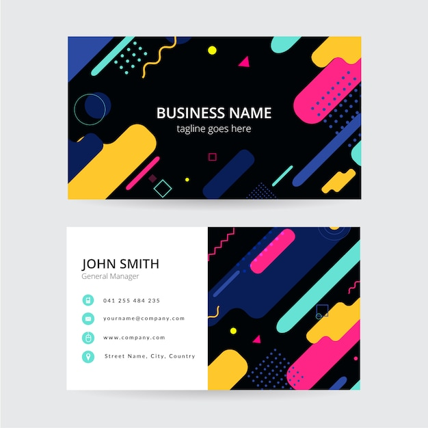 Memphis colorful business card, modern design Premium Vector
