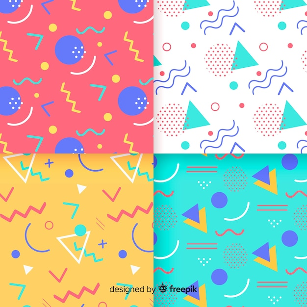 Memphis colorful pattern collection Free Vector