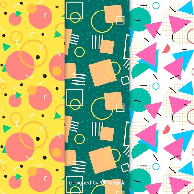 Memphis colorful pattern set Free Vector