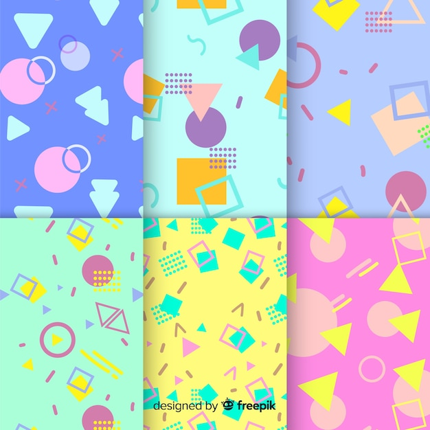 Memphis concept with pattern collection Free Vector