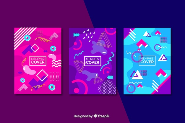 Memphis cover collection in pink and violet shades Premium Vector