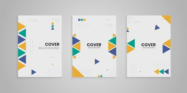 Memphis cover collection with colorful shapes Premium Vector