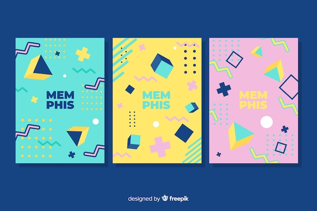 Memphis cover collection with dark background Free Vector