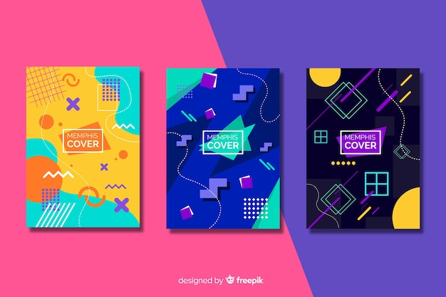 Memphis cover collection with geometric shapes Free Vector