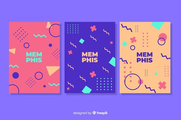 Обложка memphis с пурпурным фоном Бесплатные векторы