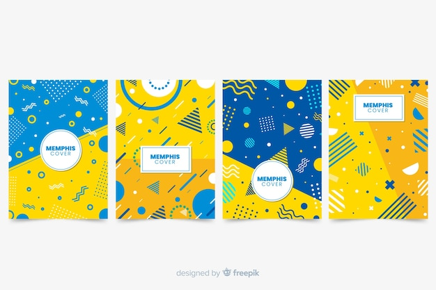 Memphis cover collection with yellow Free Vector