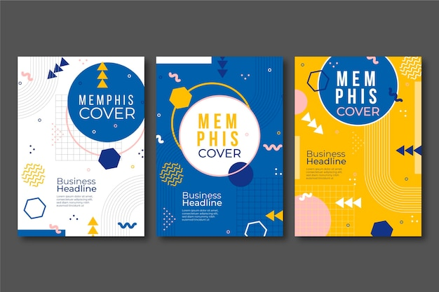 Memphis design abstract cover collection Free Vector